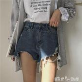 夏裝女裝韓版寬鬆高腰磨破洗水牛仔褲短褲毛邊寬管褲直筒褲顯瘦潮 潔思米