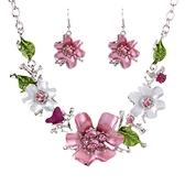項鍊鍍白金+耳環-時尚甜美花朵鑲鑽女毛衣鍊73nt13【時尚巴黎】
