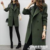 秋冬季新款韓版氣質女裝毛呢外套修身顯瘦大碼中長款呢子大衣 時尚芭莎
