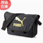 【現貨】PUMA Messenger 側背包 郵差包 魔鬼氈 多口袋 大跳豹 黑金【運動世界】07800701