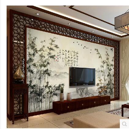 牆紙壁紙水墨竹子電視牆客廳壁紙PLL931【男人與流行】