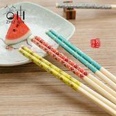 家用筷子實木竹筷防滑不發霉套裝中式創意日式餐具酒店家庭裝10雙【居享優品】