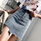 包臀裙學生牛仔短裙女夏a字不規則半身裙       伊芙莎