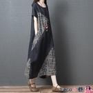 熱賣大碼洋裝 2021夏季新款寬鬆大碼女裝文藝復古拼接棉麻短袖連身裙顯瘦長裙子 coco