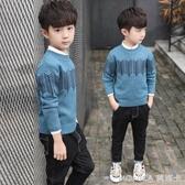 男童毛衣套頭兒童款圓領毛衫中大童冬裝線衣童裝   麻吉好貨