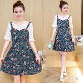 大尺碼洋裝 胖mm新款蕾絲拼接雪紡碎花假兩件式裙裝寬鬆顯瘦連身裙 EY6056 『M&G大尺碼』