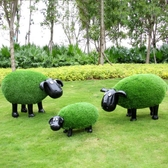 花園動物-戶外園林景觀小品花園庭院草坪裝飾動物擺件玻璃鋼卡通肖恩羊雕塑  YYS 花間公主