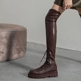 膝上靴 小香風高筒騎士靴棕色過膝長靴女皮面厚底長筒靴平底大碼彈力靴子【八折搶購】