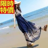長洋裝-波希米亞風復古碎花雪紡圓領無袖連身裙2色65af40【巴黎精品】