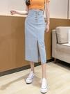 牛仔長裙 2021新款春夏季開叉牛仔半身裙中長款女百搭顯瘦時尚A字包臀長裙 韓國時尚週