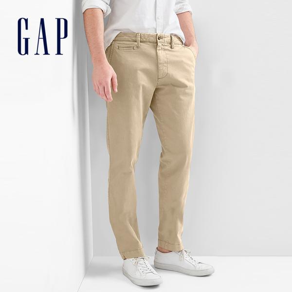 Gap 男裝 基本款復古水洗彈力修身休閒褲 844062-卡其色