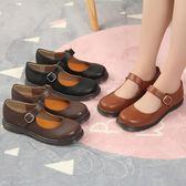 女平底單鞋可愛圓頭學院風娃娃皮鞋軟妹