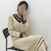 (全館一件免運費)DE SHOP~(HL-566)V領長款針織連衣裙女過膝打底裙寬鬆套頭毛衣長裙洋裝