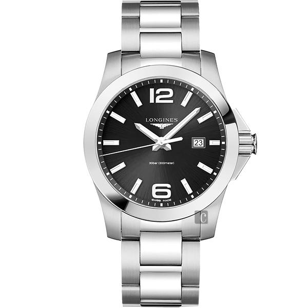LONGINES 浪琴 Conquest 300米石英腕錶/手錶-黑x銀/43mm L37604566
