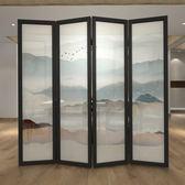 新中式實木玄關隔斷屏風客廳臥室可移動折屏隔斷書房j簡約山水畫