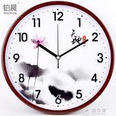 簡約石英鐘現代鐘錶個性掛鐘創意中式鐘客廳時鐘掛錶靜音壁鐘     俏女孩