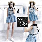 克妹Ke-Mei【ZT46518】泰國潮牌HELLO橫紋坦克背心+腰帶闊腿牛仔吊帶褲