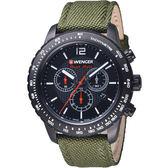 瑞士 WENGER Roadster速度系列黑夜騎士三眼指針腕錶  01.0853.110