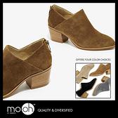 真皮踝靴 牛麂皮V口顯瘦質感後拉鍊木跟踝靴短靴 mo.oh(歐美鞋款)