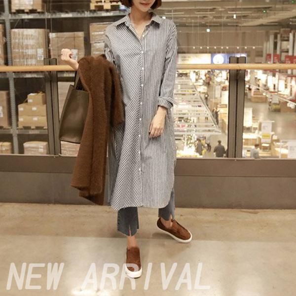 【905】秋季韓版長袖寬鬆條紋中長版襯衫 襯衣 上衣(M-XL)