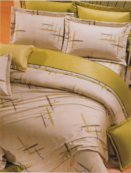 單品-床包 (不含被套)-幾何(米)、100%精梳棉【雙人床包5X6.2尺/枕套】