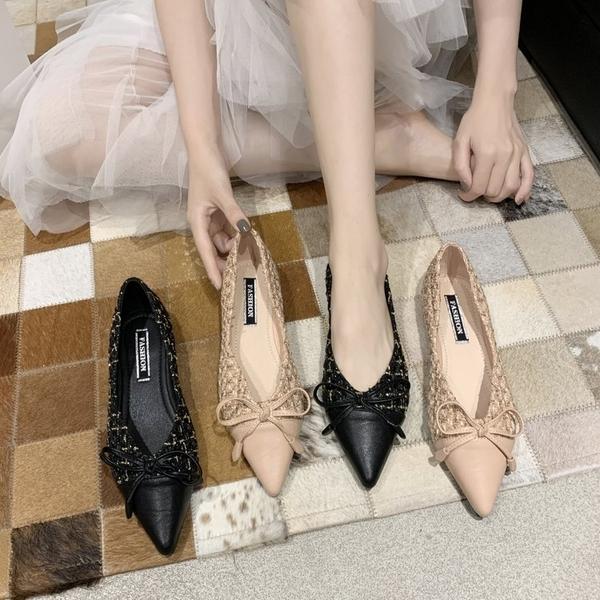 單鞋 尖頭單鞋女2020年新款夏韓版網紅時尚仙女風蝴蝶結瓢鞋軟底豆豆鞋 印象
