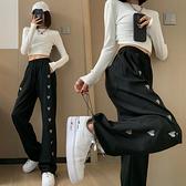S-6XL大碼牛仔長褲~褲子女愛心刺繡抽繩直筒束腳高腰寬松闊腿褲230斤1103.1F039衣時尚
