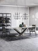 餐桌椅組合輕奢大理石長1.8米北歐小戶型家用飯桌後現代簡約工業風餐臺  萌萌小寵DF