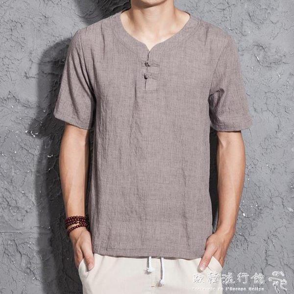 男士棉麻短袖T恤衫復古亞麻大碼盤扣半袖上衣  歐韓流行館