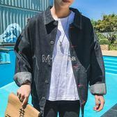BF風情侶復古牛仔夾克青年韓版潮流原宿刺繡學生寬鬆牛仔衣外套男  瑪奇哈朵