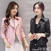 皮衣 2021春秋季新款女裝pu機車皮衣女士短款韓版修身大碼外套小皮夾克 小天使 99免運