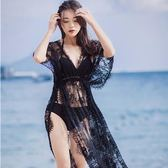 2018韓版性感黑色三件套泳衣女防曬衣比基尼