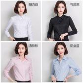 韓棉春秋白襯衫女寬鬆工作服正裝大碼襯衣