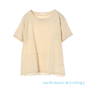 「Summer」花邊蕾絲下擺分層式短袖T恤 - earth music&ecology