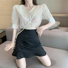 歐根紗短款娃娃領上衣女夏2020年新款韓版短袖雪紡襯衫設計感小眾