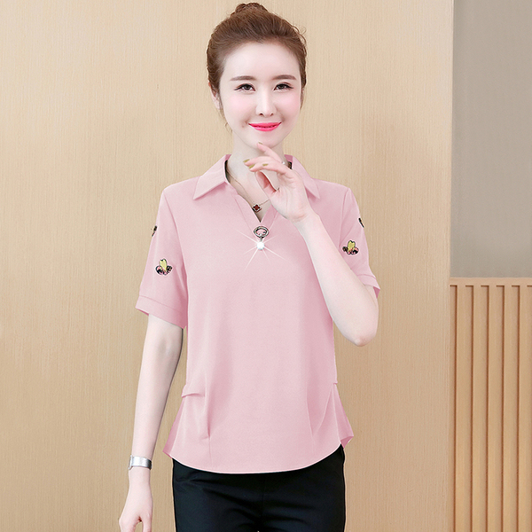 韓版襯衫領開襟七分袖雪紡衫(5色M~4XL)*ORead*