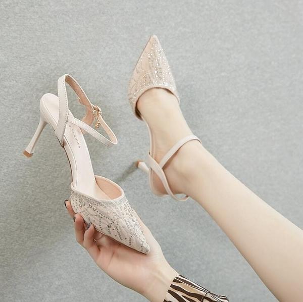 高跟鞋新款夏季包頭細跟水鑚時裝涼鞋性感尖頭女鞋壹字帶百搭