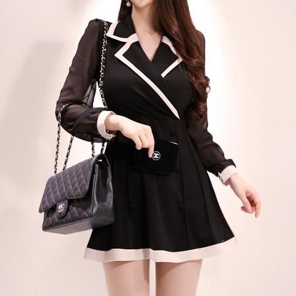 初秋新款2020韓版女裝OL洋裝 氣質小香風西裝領收腰雪紡長袖A字連身裙