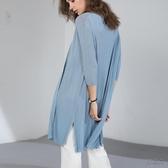 空調衫 針織開衫女夏季中長款薄款冰絲外套防曬衫外搭亞麻空調衫外披披肩