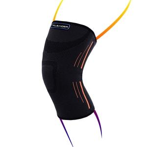 LEADER XW-05 透氣加壓 運動壓縮護膝腿套 黑橘 1只入S