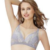思薇爾-啵時尚花心思系列B-E罩無鋼圈蕾絲包覆內衣(紫藤灰)
