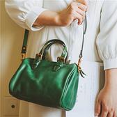 真皮手提包-植鞣牛皮純色波士頓包女側背包2色73wv4【時尚巴黎】