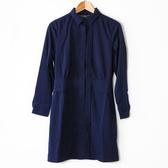 【MASTINA】燕子領壓褶洋裝-深藍 好康優惠