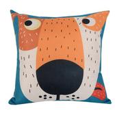 動物家族 棉麻舒適方型抱枕.靠枕_藍綠小黃狗