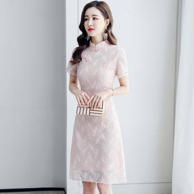 短袖洋裝M-3XL夏款蕾絲雙色改良旗袍小個子連身裙H303依佳衣