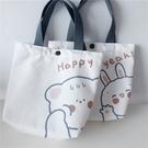 可愛卡通熊兔子印花帆布包ins