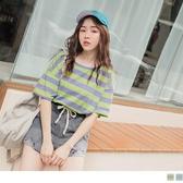 《AB10586-》高含棉配色橫條紋休閒寬版上衣/T恤 OB嚴選
