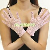 手套 全罩蕾絲花紋手套(粉紅)-短-玩伴網【隱密出貨】