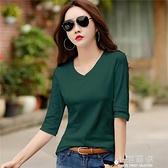 2020春裝新款女裝純棉7分袖t恤女韓版寬鬆中袖外穿體恤上衣打底衫『小淇嚴選』