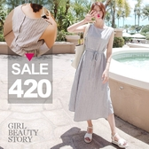 SISI【D8123】現貨甜美清新圓領高腰中長款無袖灰白條紋收腰傘狀大襬棉麻連身裙洋裝